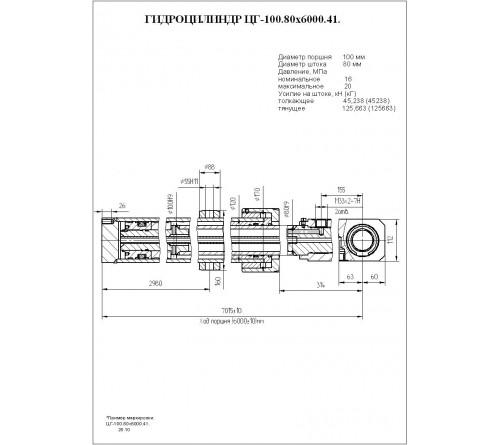 Гидроцилиндр выдвижения секции стрелы ЦГ-100.80х6000.41 (КС-4572А.63.900-2А)